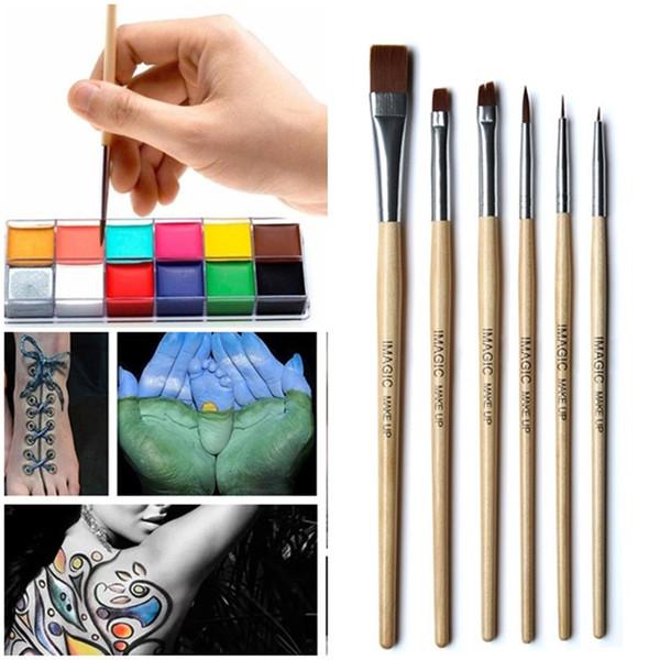 New 6Pcs Makeup Brushes Set Face Paint Brush Set Body Painting Paint Brush Make Up Brush Tool