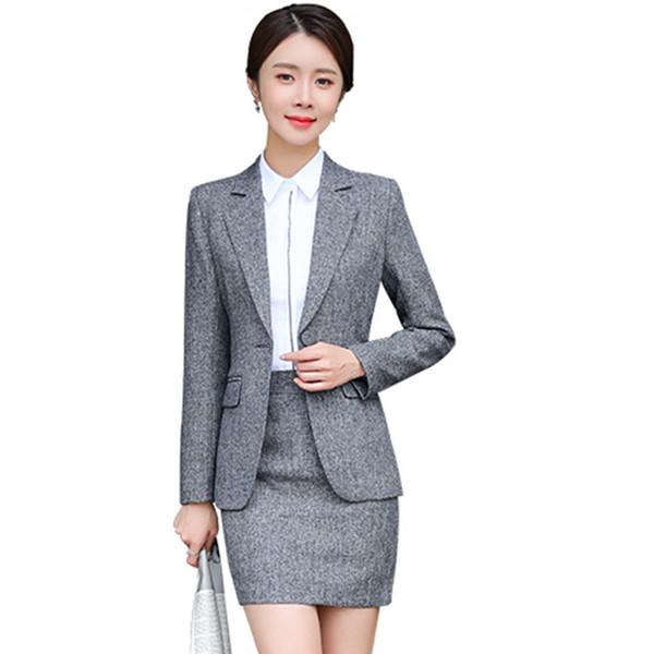 Compre Traje Formal Para Mujer Oficina Trajes De Falda De Dama Uniformes De Trabajo De Negocios 2 Piezas Faldas Blazer Set Chaqueta Con Muescas Trajes