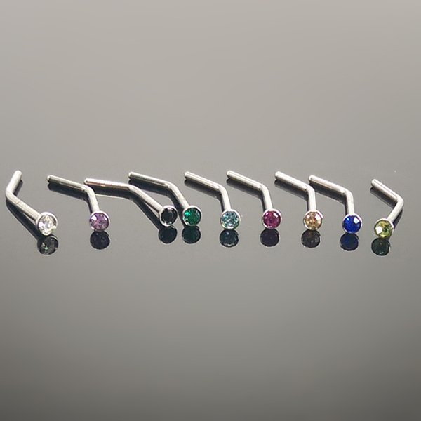 Wholesale 100Pcs/Lot Surgical Steel Nose Studs Indian Nose Rings Piercing Bar Crystal Body Jewelry