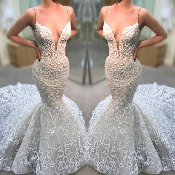 2019 Sheer Net V Neck Bohemian Lace Wedding Dresses Novia Sexy Mermaid Spaghetti Straps Backless Open Back Bridal Gowns