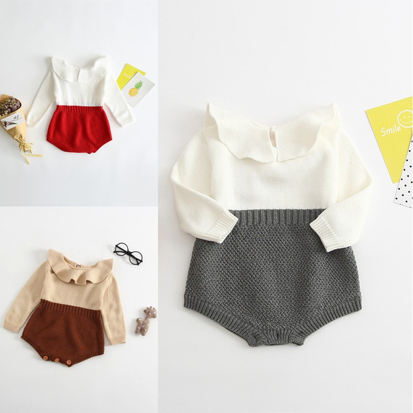 Newborn Baby Girl Romper Baby Jumpsuit Autumn Winter Warm Knit Sweater Rompers Sweet Baby Girl Clothes