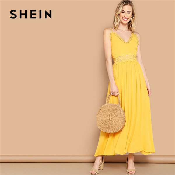 Bright Yellow Lace Insert Fit Flare Cami Maxi Dress Women Summer Sleeveless V Neck High Waist Solid Boho Sexy Dress C19041001