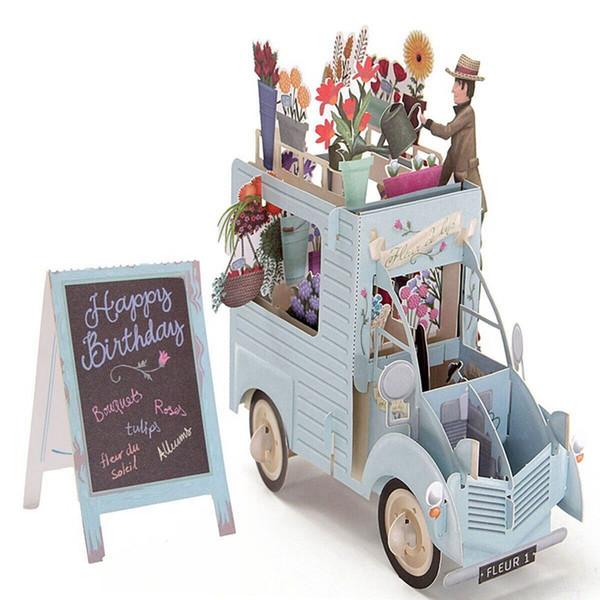 Biglietto di auguri per il taglio del laser Biglietto da visita con busta 3D Pop-Up Biglietto di auguri per auto colorato fiore intagliato a mano con regali Kirigami intagliati