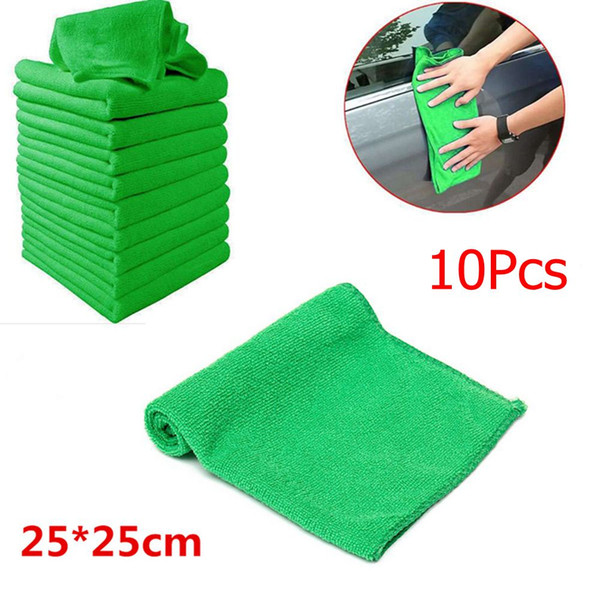 10 STÜCKE Autotuch Grüne Reinigung Staubwedel Mikrofaser Autowäsche Handtuch Autopflege Detaillierung werkzeug tuch auto Gericht reinigungswerkzeuge