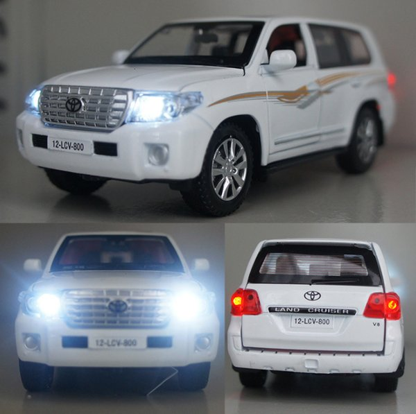 Alta simulación 1:32 vehículos Toyota Land Cruiser aleación Diecast modelo de coche juguetes con tirar de luz de sonido para niños juguetes para niños J190525