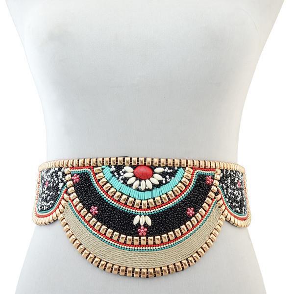 Moda europea y americana retro estilo nacional exagerado grano de arroz textura de metal larga cintura cadena regalo de la joyería de las mujeres