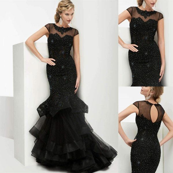 Mermaid Long Prom Dresses Black Sexy Jewel Neck Short Sleeve Lace Tulle Formal Evening Gowns with Key Hole Back Women Elegant Party Dress