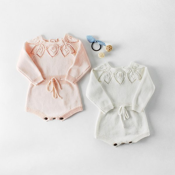 INS Baby Girls Princess Romper Autumn Infant Hollow Out Long Sleeve Jumpsuit Fashion Toddler knitting Bow Lace-up Onesie Y2615