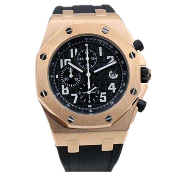 Royal Oak Mens Watches Offshore Chronograph Stop Watch 42mm Rose Gold Quartz Watch Business Male Clock Wrist Watch Free Shipment