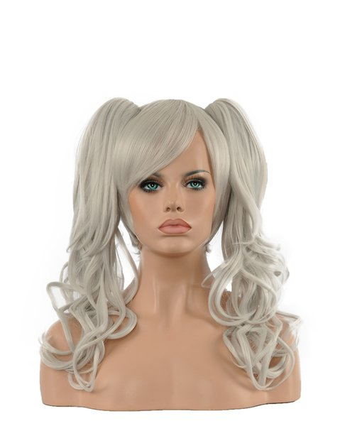 Fashion Sexy Women Long Silver Grey Double Ponytails Oblique Bangs Curly Hair Kanekalon Heat Resistant Cosplay Party Hair Full Wig Wigs