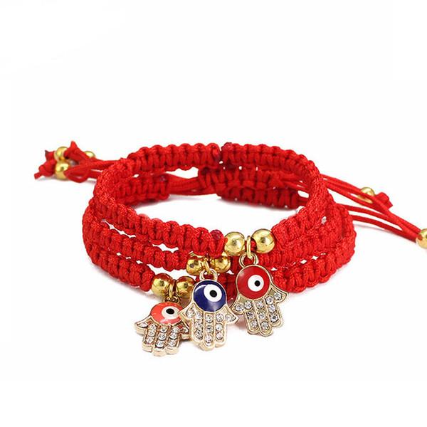 2019 fatima red string thread hamsa armbänder türkische bösen blick charme mit strass frauen handgemachte fatima freundschaft glück schmuck