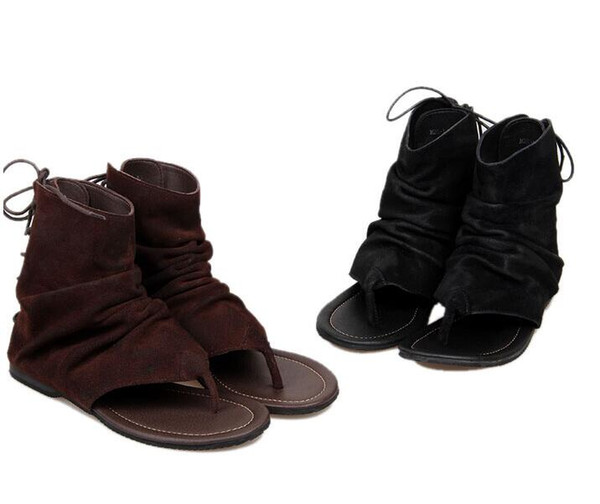 Men's summer sandal boots black genuine cow leather Lace Up Sandals Booties open toes for summer