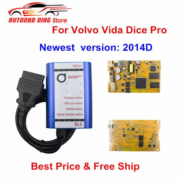 For Volvo Vida Dice Pro 2014D With New Type Yellow PCB Car Diagnostic Tool Dice Pro+ Full Chip For VOLVO