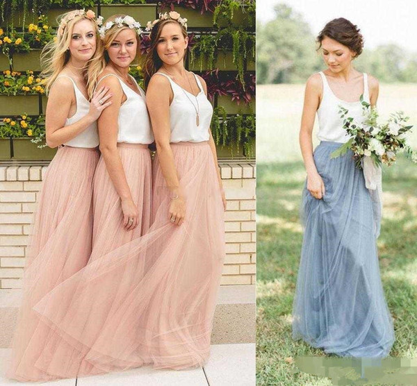 Two Tone Country Style Long Bridesmaid Dresses 2019 Vintage Full length Bohemian Beach Junior Maid of Honor Wedding Guest Gown