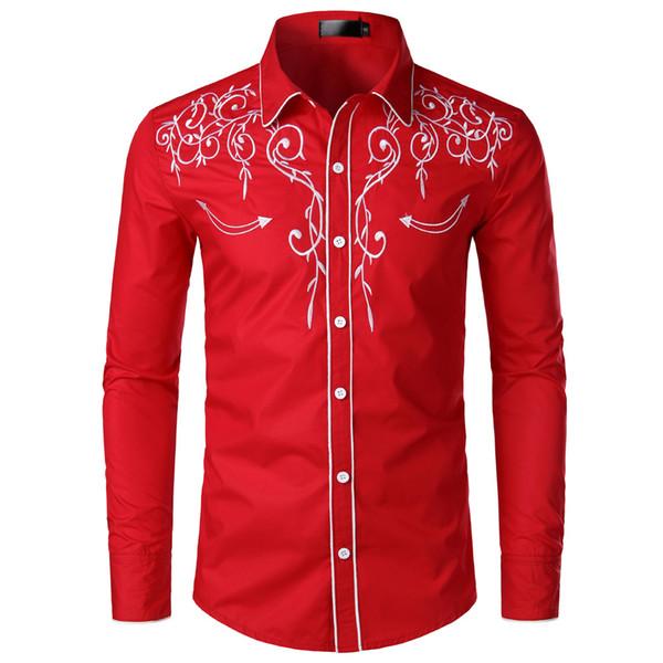 Mens ricamo vestito dal progettista camice di gira giù Camicie Maniche lunghe