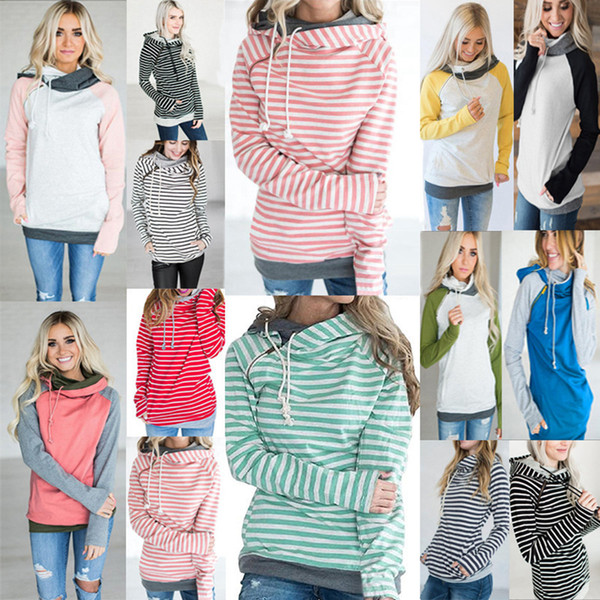 best selling Girls Hoodies Patchwork Pocket Hooded Coat Women Striped Long Sleeve Sweatshirts Zipper Jumper Tops Pullover Hoodie Outerwe LJJA3624-11