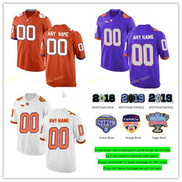 Camiseta Clemson Tigers College personalizada Higgins Christian Wilkins Tanner Musa Dexter Lawrence T.J. Chase Ross Choice 2019 Cotton Bowl Jerseys