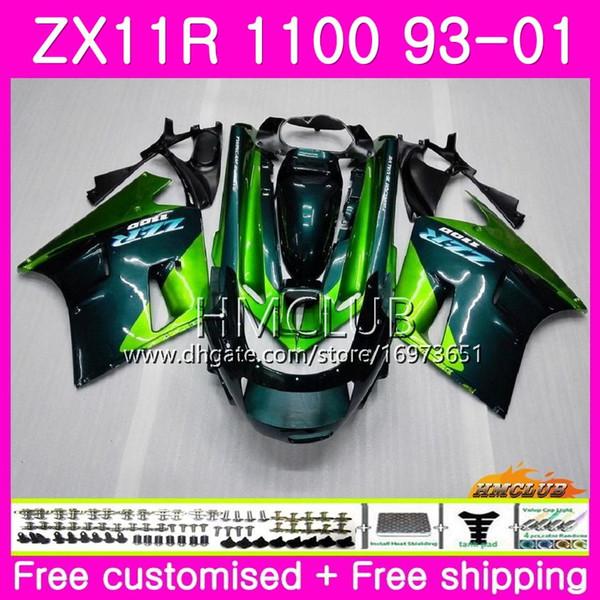 ZX-11R لكاواساكي نينجا ZX11R 93 94 95 96 97 98 99 01 أخضر لامع 52HM.13 ZZR1100 ZX 11R 1993 1994 1995 1996 1998 1998 2001 Fairing