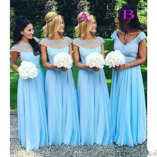 Очаровательные Небесно-голубой шифон платья невесты Crystals бисером Scoop Neck Lace горничной честь гостей свадьбы платья Вечерние платья