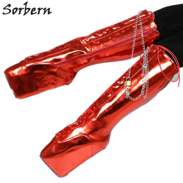 Compre Sorbern Rodilla Botas Altas Botas Rojas Bdsm Art Performance Mujeres Crossdressers Christams Muestra Botas Para Mujer Calzado Ancho