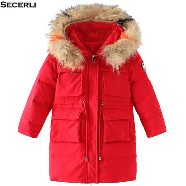 Kids Girls Winter Coat Long Style 3 to 12Y Girls Long Jacket Fur Hooded Cotton Padded Children Winter Parkas