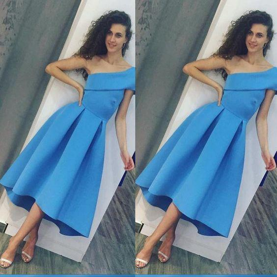 One Shoulder Blue Tea Length Party Dresses with Pleated Skirt Cute Semi Formal Occasion Dresses Custom Made