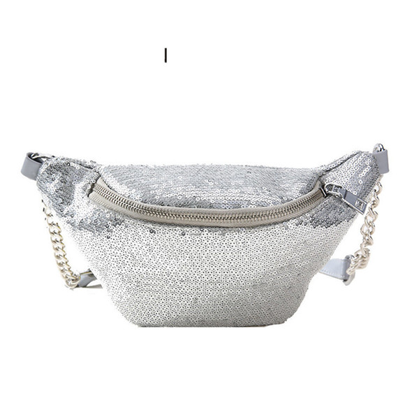 good quality Paillette Waist Bag Women Pack With Sequins Female Belt Bags Chest Handbag Travel Money Bags Cashier Pouch