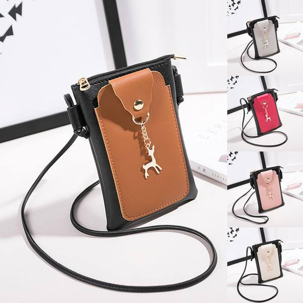 Cheap Fashion Girls Square bags Fashion Patchwork Deer PU Cover Messenger Bag Shoulder Bag Phone Embossing Coin Bag for Women