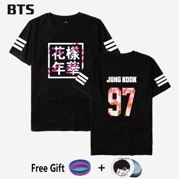 BTS Kpop Bangtan Jungen T Shirt Jungkook Streetwear Harajuku Bequeme Frauen / Männer Casual Style Rette mich Flügel T-shirt Plus Größe