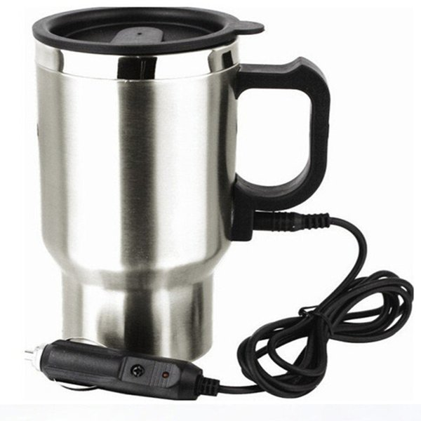 Stainless Steel car water cup electric Kettle Travel Trip Coffee Tea Heated Hot Water Heater With Cigar Lighter Cable 12V