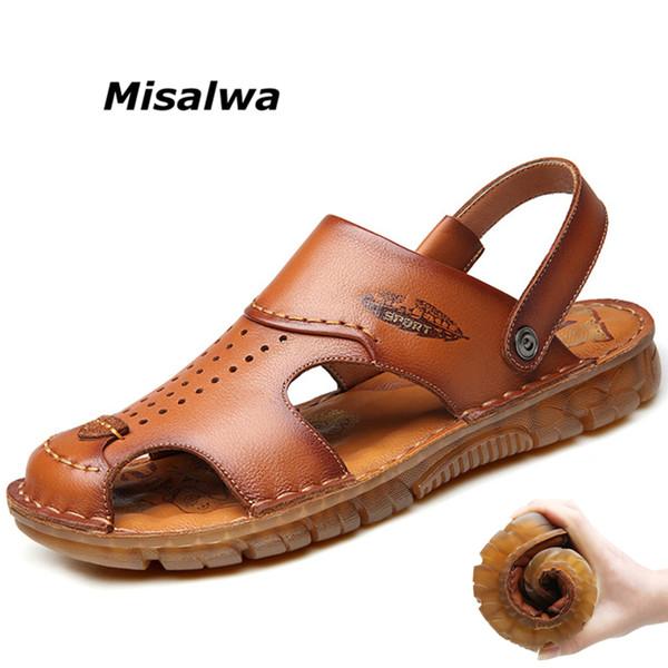 Misalwa Uomo in vera pelle Estate Sandas Cucitura a mano in lattice Pad Durevole Spiaggia casual Sandali esterni Pantofola Anti collisione Scarpa