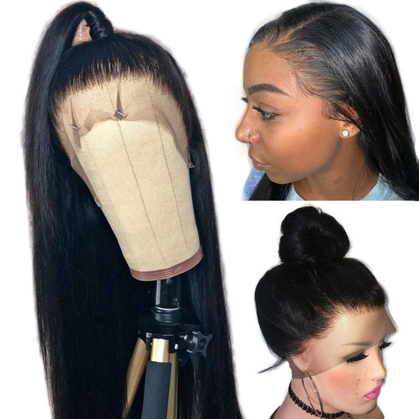 Parrucca frontale in pizzo con peli del bambino 180% densità parrucche piene del merletto dei capelli umani per le donne nere capelli vergini brasiliani senza colla naturale