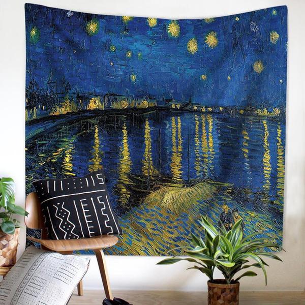 Tapeçaria tapeçaria toalha de praia direto da fábrica nova fronteira mundialmente famosa pintura Van Gogh pintura a óleo HD multi-função