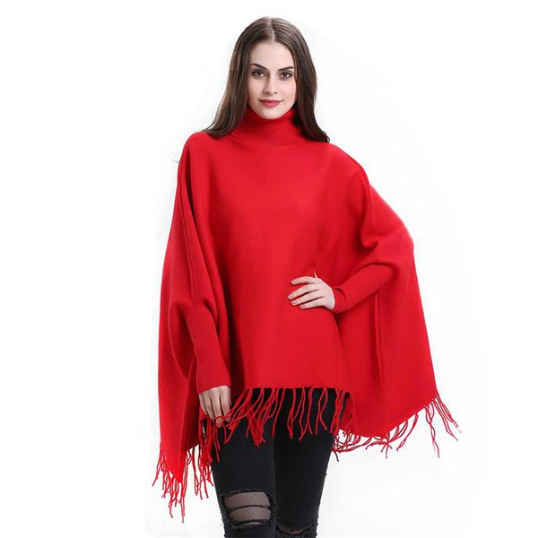 New Tassels Women Sweater Nylon Autumn/Winter Casual Turtleneck Poncho Batwing Long Sleeve Solid Female Sweaters Lady Cloth
