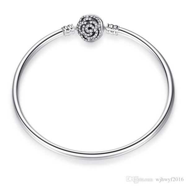 Free Shipping Jewelry 925 Silver Charms Bangle//bracelet With Pink Clear Crystals