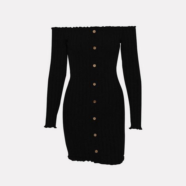Schnell verkaufende Spring Fashion Blockbuster EBay 2019 neue beliebte Mode eacy Langärmelige, schulterbedeckte, reine Pin-Button-Kleider