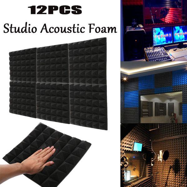 "top popular 12PCS Acoustic Foam Pyramid Recording Studio Audio Echoes Treatments Sound Insulation Foam Wall Panel Black 2""12""12"" 2021"