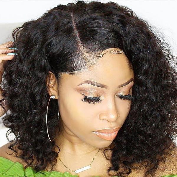 Pelucas de cabello humano corto para mujeres Brasileñas 13x6 Bob Pelucas delanteras de encaje Pre Arrancadas Con el pelo del bebé Rizado 150% Peluca de encaje negro