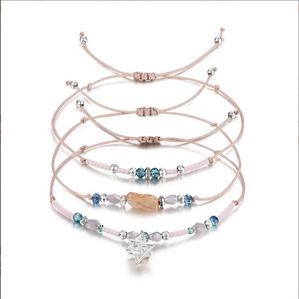 Bracciale a strati Set 3 pezzi (rosa) Beads assortiti Bracciali multipli impilabili Bracciali donna regolabile