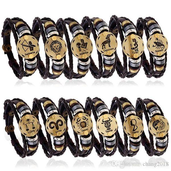 19 styles horoscope noir bracelets en cuir véritable breloques zodiac charme bracelet bijoux douze constellation leo bélier pisces pksp2-3