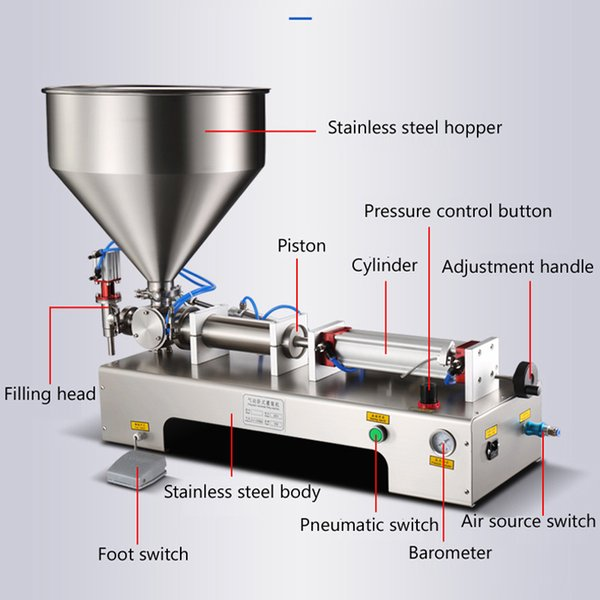 top popular Paste liquid dual-purpose filling machine stainless steel semi-automatic horizontal pneumatic filling machine 2020