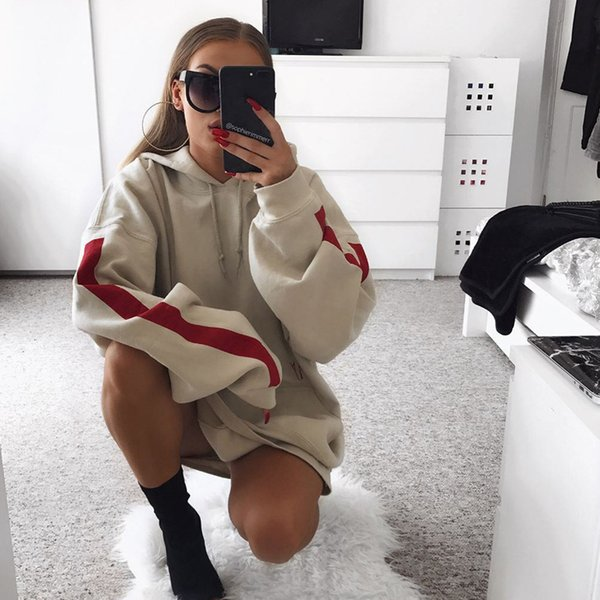 Women Oversized Hoodies High Street Long Sleeve Fleece Sweatshirt Tumblr Pullover 2017 Winter Fashion Loose Warm Coat Plus Size