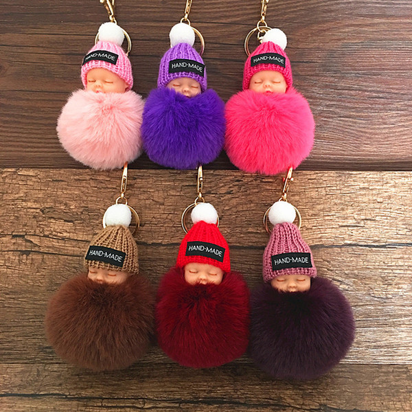 best selling Cute Sleeping Baby Doll Keychain Pompom Rabbit Fur Ball Carabiner Key Chain Keyring Women Kids Key Holder Bag Pendant key Ring Gift RRA2253
