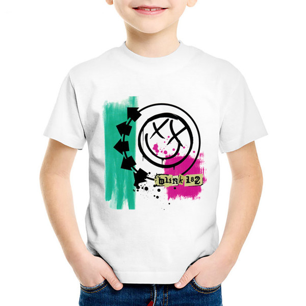 Fashion Print Blink 182 Rock Band Smiley Face Children T-shirts Kids Cute Summer Tees Boys/Girls Casual Tops Baby Clothes,HKP501