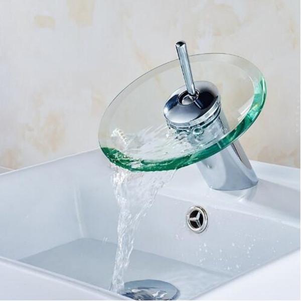 Montado en el escritorio Cascada de vidrio Cuarto de baño Fregadero de la cocina Grifo Cascada redonda Cromo Lavabo Grifo Sola palanca Grifo de mezcla de agua fría y caliente
