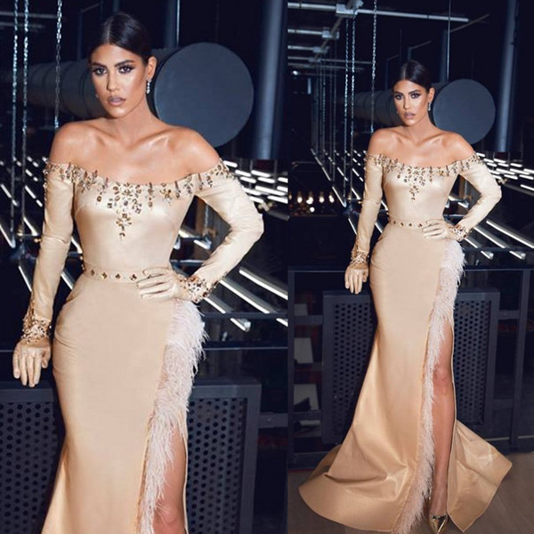 Champagne Evening Dresses Off The Shoulder Sexy High Side Split Feather Mermaid Prom Dress Custom Made Long Sleeve Formal Party Gowns