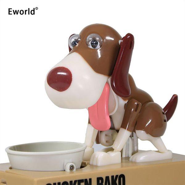Eworld Robotic Hungry Eating Dog Banco Canino Robó Automáticamente Moneda Piggy Bank Caja de Ahorro de Dinero Regalo Para Niños Q190606