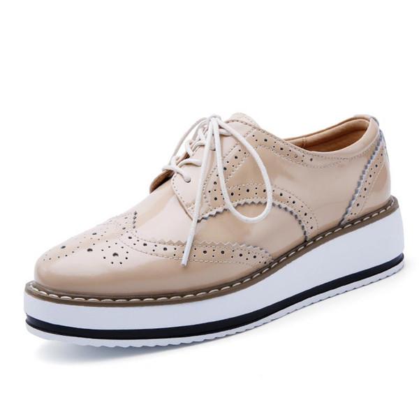 Pour Creepers Femme Chaussures Pour Acheter Pointu Flats Plate À Forme Verni Lacets Chaussures Chaussures Femmes Cuir Toe Femmes Bout Oxfords Brogue SzpUqGMV
