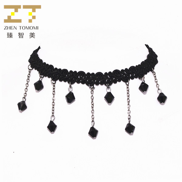 Heißer verkauf hochwertige mode schwarz kristall anhänger diy schwarz stretch spitze choker halskette für frauen dance party schmuck bijoux