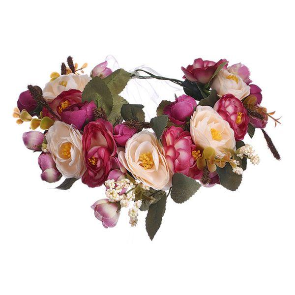Haimeikang Camellia Flower Garland Wreath of Flowers Gum Plaiting Women Girls Flower Crown Headbands Wedding Hair Accessories